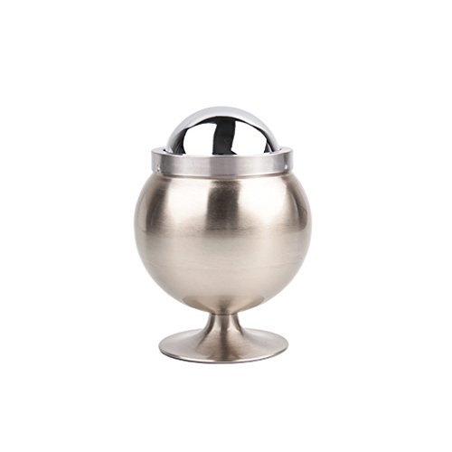 Home-decoration Round Cenicero Smoking Accessories Ash Tray Metal Winproof Smokeless Ashtray Standing Metal Stainless Steel Ash Tray Removable Cigarette Cenicero Ashtrays Smokeless Tobacco Accessories (silver)