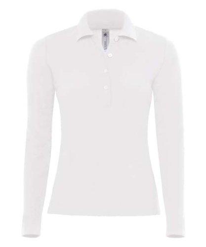 B&C Safran Pure LSL PW456 - Polo a maniche lunghe, Bianco (bianco), XL