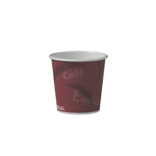 SOLO 374SI-0041 Single-Sided Poly Paper Hot Cup, 4 oz. Capacity, Bistro (Case of 1,000)