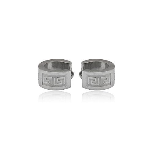 FASHION STAINLESS STEEL SILVER TONE HOOP EARRING FOR MEN JEWELRY 6.88grams
