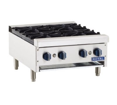Royal Range Rhp-24-4 Ng 24-In Countertop Hotplate W/ 4-Open Burners & Cast Iron Grate, Ng, Each