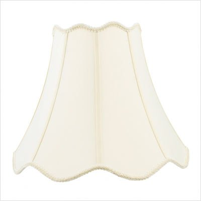 """Top and Bottom Scallop Shantung Silk Bell Lamp Shade with Fancy Trim in Off White Size: 11"""" H x 14"""" W x 14"""" D"""