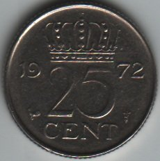 1972 Netherlands 25 Cents Coin - 1