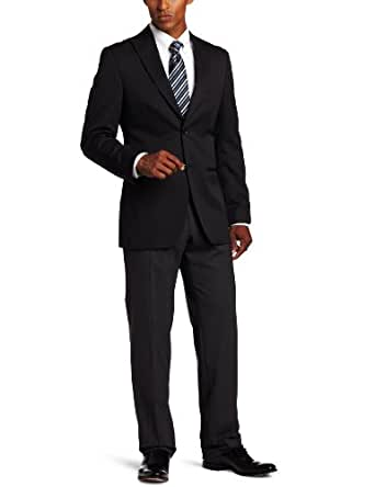 Haggar Mens Enterprise Micro Grid 2 Button Side Vent Suit Coat, Black, 40 S