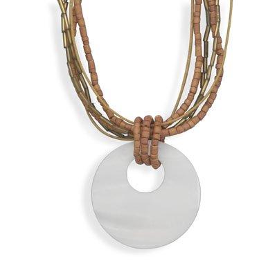Jewelry Locker Shell Pendant on 6 Strand Fashion Necklace