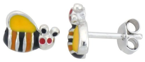 Sterling Silver Child Size Bumble Bee Earrings, w/ Yellow, Black & Orange Enamel Design, 5/16 inch (8 mm) wide