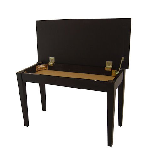 Cameron & Sons CS-10 EBHP Piano Bench Duet Seat with Music Storage Compartment, Black Wood