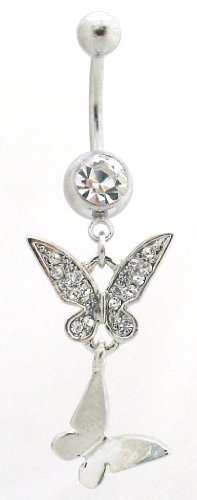 Pierced & Modified - Body Jewellery Belly Bars - Elegant Crystal Double Butterfly Dangle Navel Bar