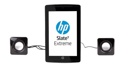 DURAGADGET Small & Portable USB Powered Tablet Speakers With Volume Dial For HP Slate 7 VoiceTab