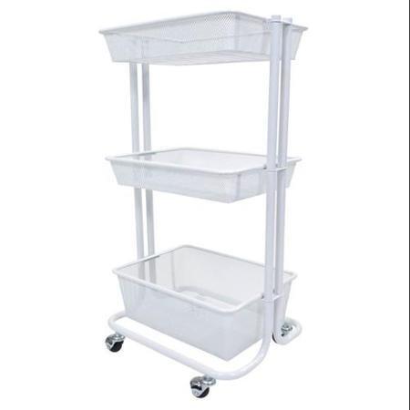 Luxor 3-Shelf Rolling Storage Cart, White (Pasta For Cpu compare prices)