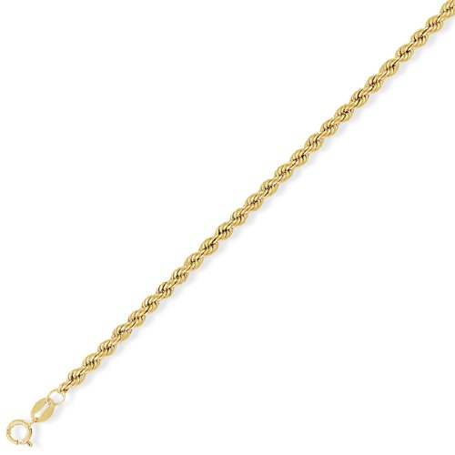 9Ct Gold Hollow Rope Chain 22 inch/3mm
