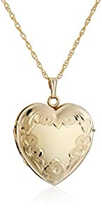 """14k Yellow Gold-Filled Engraved Four-Picture Heart Locket Pendant Necklace, 20"""""""