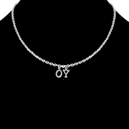 "Custom Personalized Nameplate Necklace, 2 Letters, Each 5/16"" High. Made In Usa, In Silver Tone"
