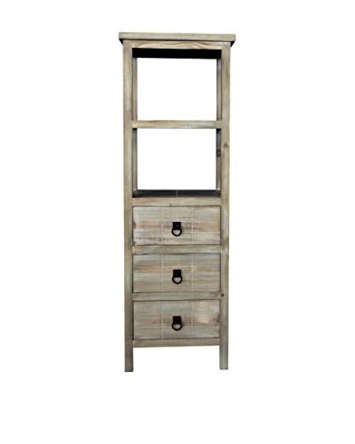 Gallerie Décor Driftwood 3-Drawer & 2-Shelf Cabinet, Weathered White