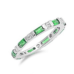 3MM Sterling Silver Emerald Baguette & Round CZ Stackable Eternity Band Size 6