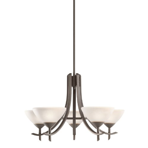 Kichler Lighting 1679OZW Olympia 5-Light Chandelier, Olde Bronze Finish with Satin Etched White Glass