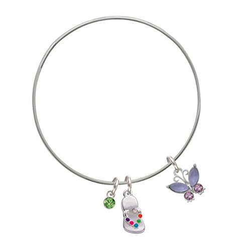 Butterfly With Purple Wings Lime Green Crystal And Flip Flop Charm Bangle Bracelet