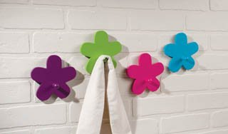 Vintage Flower Power Set of 4 Brightly Colored Wooden Wall Hanger Clothing Pegs Hooks and Coordinating Wall Decals