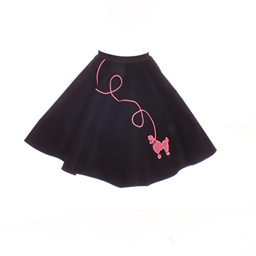 Hip Hop 50S Shop Small Child Poodle Skirt - Size 4,5,6 - Black With Pink