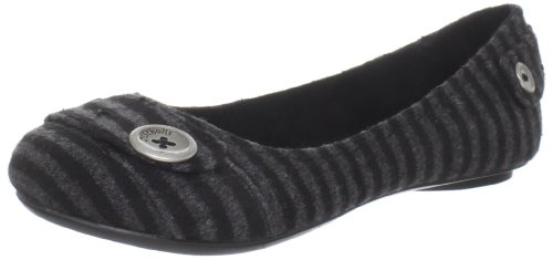 Dr. Scholl's Women's Fielding Ballet Flat,Black/Grey Stripe,7.5 M US