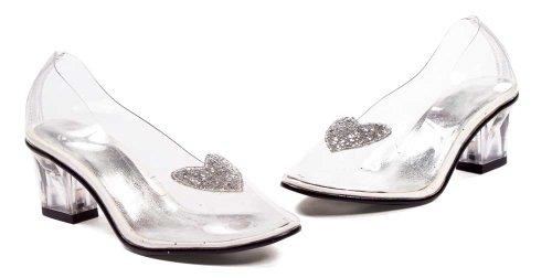 Cheap ELLIE 201-ARIEL 2″ Heel Clear with Silver Glitter Heart Slipper Childrens (B008YUVBOW)
