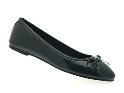 WOMENS PATENT BALLET PUMPS FLATS SHOES COMFORTABLE