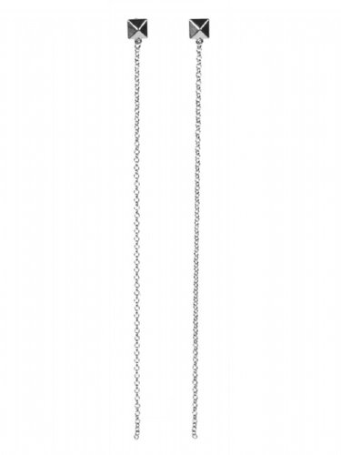 Jules Smith Cairo Pyramid Earrings with Long Chain - Silver