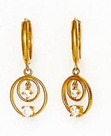 14ct Yellow Gold Round CZ Circles Design Hinged Earrings