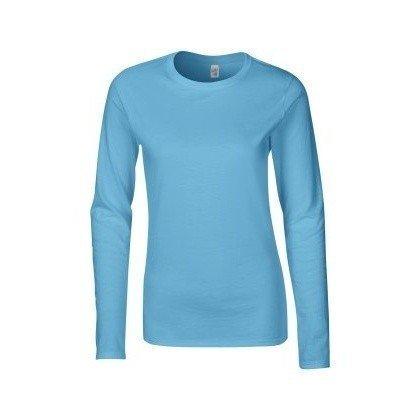 Gildan - Maglia Maniche Lunghe - Donna (M) (Azzurro)