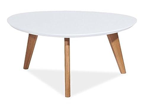 """Jadella - Tavolino basso Design """"Milan L III"""", bianco, forma triangolare ad angoli arrotondati"""