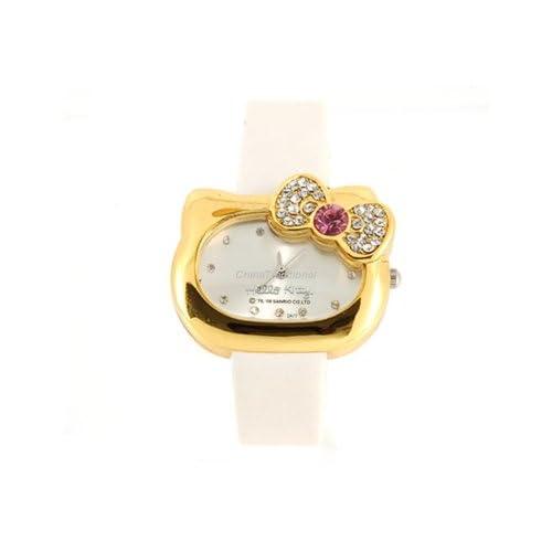 Hello Kitty Crystal decorated Bracelet Girls Kids Wrist Watch Yellow