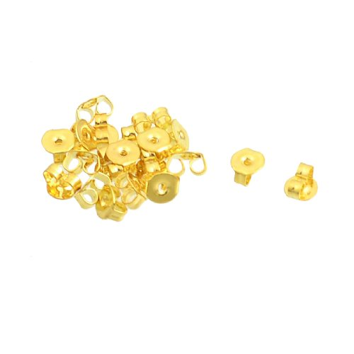 Rosallini 20 Pcs Gold Tone Alloy Plate Ear Nuts Earring Backs for Ladies