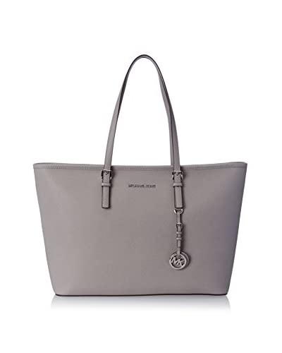 MICHAEL Michael Kors Women's Jet Set Travel Mutlifunction Saffiano Leather Tote, Pearl Grey