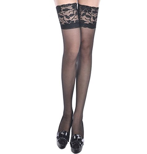 Fairy Season Women Ultrathin Lace Sheer High Stockings Top Silk Pantyhose