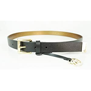 Michael Kors Mk Logo Black Saffiano Leather Belt Gold Buckle W/Charm Size Large