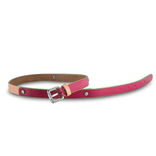 Cintura donna in pelle Saffiano Made in Italy con borchie DUDU Fucsia