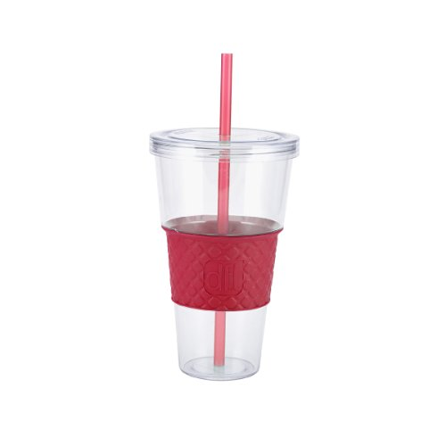 Design For Living Single Wall Ice Beverage Cup With Berry Sleeve And Matching Straw, 32-Ounce front-618930