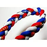 20 Blue/Red/White Titanium Sport Tornado Baseball/Softball Necklace