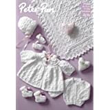 """Peterpan P1069 4 Ply Premature set Cardigan Shawl Matinee Coat Bootees Bonnet and Mittens Size 9""""-12"""" Chest Baby Knitting Pattern"""