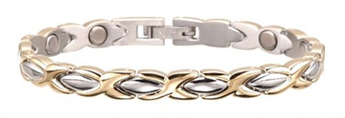 Sabona Lady Executive Dress Gold Duet Magnetic Bracelet, Size Medium