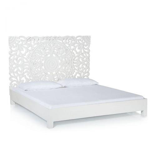 Kasandria® Bett Weiß 140x200cm | Bettgestell mit massivem Kopfteil | Ehebett im Antik-Look