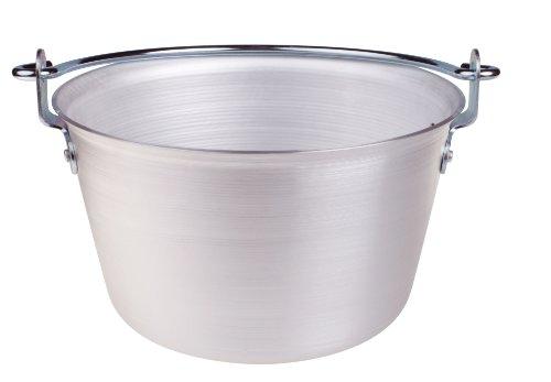 Pentole Agnelli Paiolo per Polenta, in Alluminio, con Manico ad Arco in Acciaio Inossidabile, Argento, 10 Litri