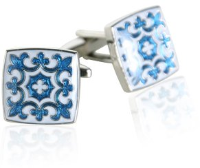 Blue & White Fleur Di Lis Cuff Links with Presentation Box image