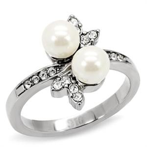 RIGHT HAND RING - White Pearl Ring in High Polished Stainless Steel with Sides Stone