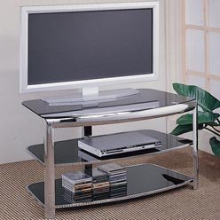 Cheap TV Stands Contemporary Chrome Media Console with Glass Shelves by Coaster (B0051PBRX8)