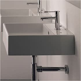 Teorema R 40 Wall Mounted or Above Counter Bathroom Sink in White