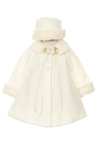 Girl's Cozy Fleece Long Sleeve Cape Jacket Coat - Ivory Infant L 12-18 Months
