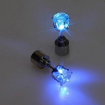 2x LED Ohrringe Leucht Ohrstecker Ohrringe leuchtende Ohringe mit Licht Halloween Weihnachten (Blau)
