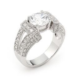 Sterling Silver Round Cubic Zirconia Engagement Ring - RingSize 8