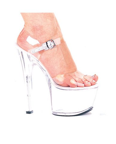 Ellie shoes, flirt 7in pump 3in platform clear six (Package Of 4) g flirt on ice lady